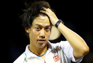 Kei Nishikori of Japan celebrates at Miami, 2014